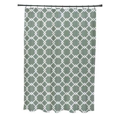 Pandro Geometric Shower Curtain Color: Green