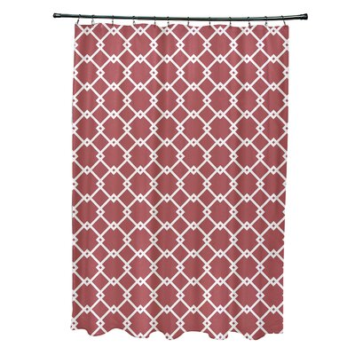 Pandro Geometric Shower Curtain Color: Coral
