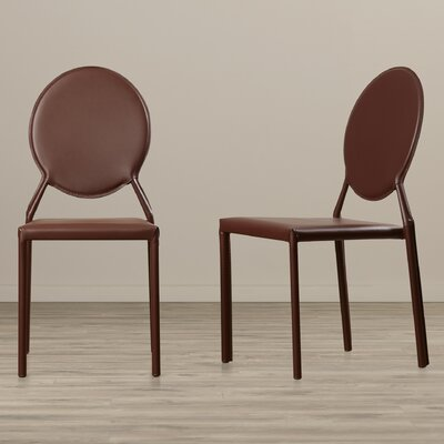 Larissa Side Chair Upholstery: Bonded Leather+Sponge - Brown
