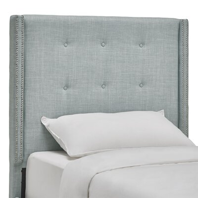 Rouse Upholstered Wingback Headboard Size: Twin, Upholstery: Hazy Blue