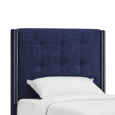 Rouse Upholstered Wingback Headboard Size: Twin, Upholstery: Twilight Blue