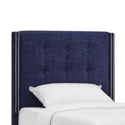 Gittan Upholstered Wingback Headboard Size: Twin, Upholstery: Twilight Blue