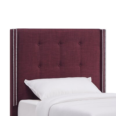 Rouse Upholstered Wingback Headboard Size: Twin, Upholstery: Tawny Port