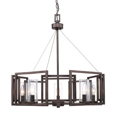 Sean Candle Style Chandelier Finish: Gunmetal Bronze, Size: 5 Light