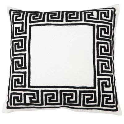Jonna Embroidered Cotton Throw Pillow Color: Black