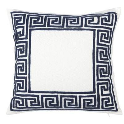 Jonna Embroidered Cotton Throw Pillow Color: Navy