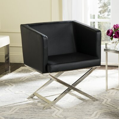 Cammi Arm Chair Color: Black Bonded Leather