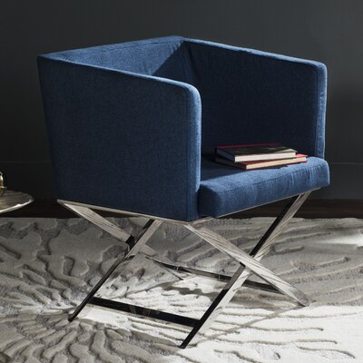 Cammi Arm Chair Color: Navy Fabric