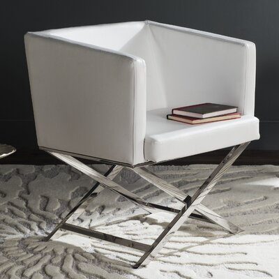 Cammi Arm Chair Color: White Bonded Leather