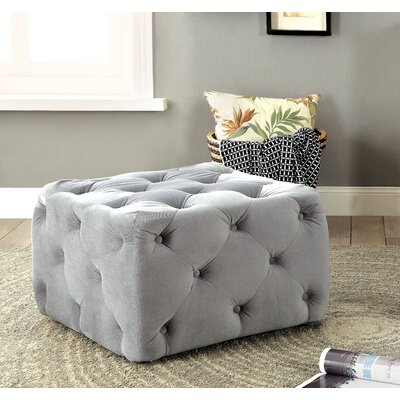 Genesee Deep Tufted Ottoman Upholstery: Gray