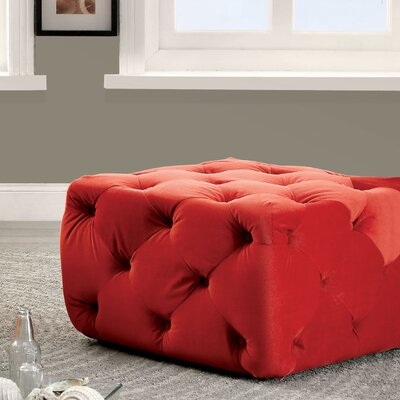 Blas Deep Tufted Ottoman Upholstery: Red