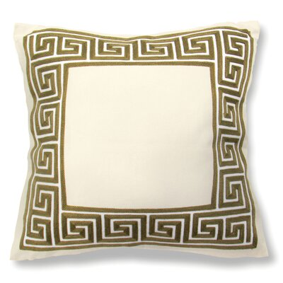 Wanlin Greek Key Cotton Throw Pillow Color: Green