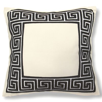 Wanlin Greek Key Cotton Throw Pillow Color: Black