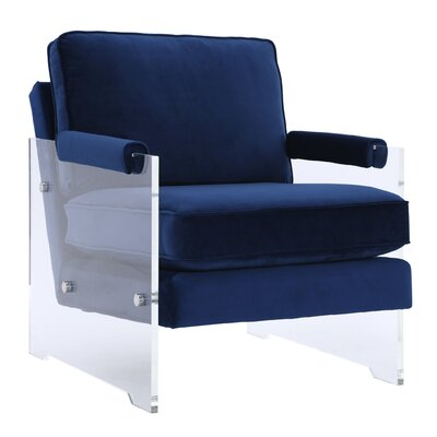 Edi Contemporary Solid Armchair Upholstery: Navy