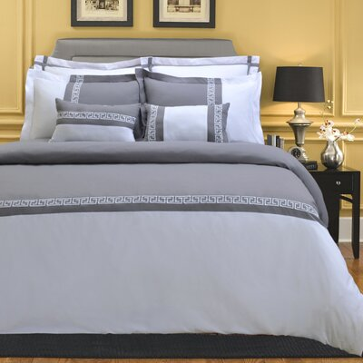 Pearson 7 Piece Reversible Duvet Cover Set Color: Gray/White, Size: King/California King
