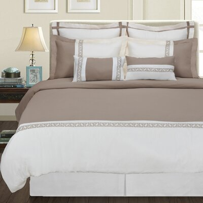 Bousquet 7 Piece Reversible Duvet Cover Set Color: Ivory/Taupe, Size: King/California King