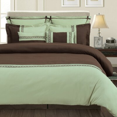 Pearson 7 Piece Reversible Duvet Cover Set Size: Full/Queen, Color: Sage/Chocolate