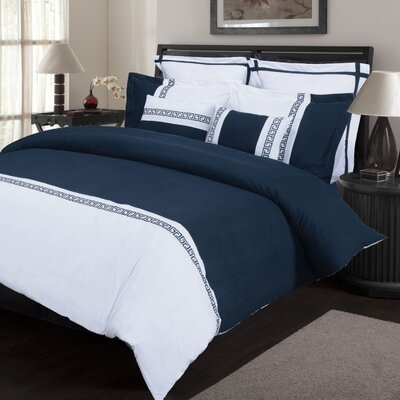 Bousquet 7 Piece Reversible Duvet Cover Set Color: White/Navy Blue, Size: King/California King