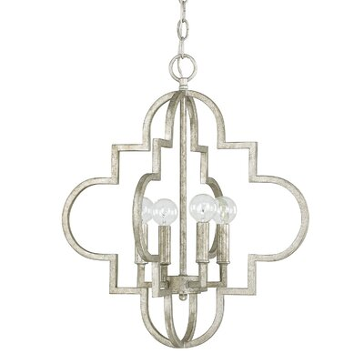 Aurea 4-Light Foyer Pendant Size: 28.25 H x 26 W, Finish: Antique Silver