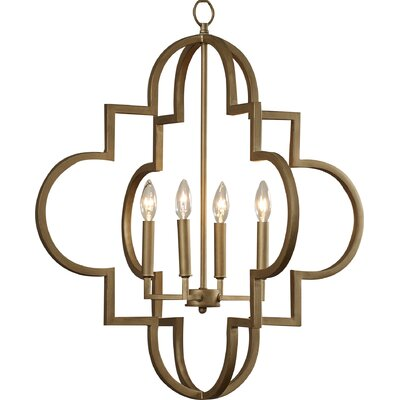 Reidar 4-Light Foyer Pendant Finish: Brushed Gold, Size: 28.25 H x 26 W