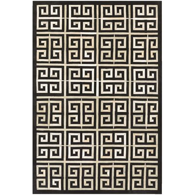Johansen Hand-Woven Black/Ivory Area Rug Rug Size: Rectangle 36 x 66
