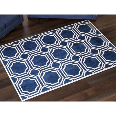 Maritza Navy/Ivory Indoor/Outdoor Area Rug Rug Size: Rectangle 10 x 14