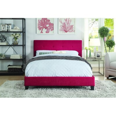 Kubik Upholstered Platform Bed Size: Queen, Upholstery: Red