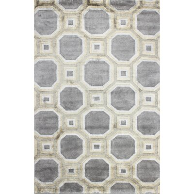 Giles Hand-Tufted Platinum Area Rug Rug Size: 39 x 59