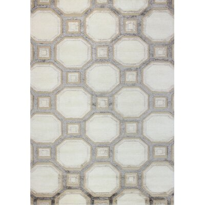Giles Hand-Tufted Ivory Area Rug Rug Size: 59 x 89