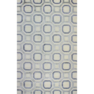 Giles Hand-Knotted Ivory/Blue Area Rug Rug Size: Rectangle 59 x 89