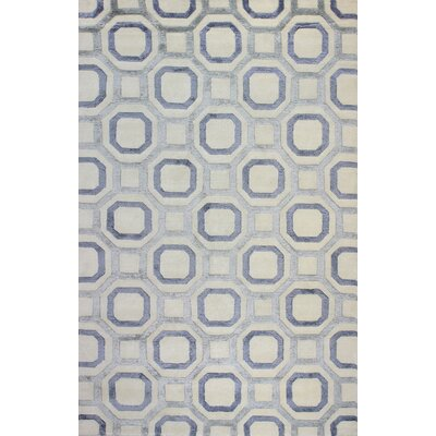Giles Hand-Knotted Ivory/Blue Area Rug Rug Size: 86 x 116