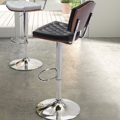 Roberdeau Adjustable Height Swivel Bar Stool Upholstery: Black