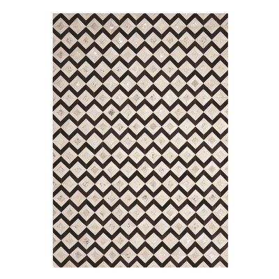 David Handmade Black/Cream Area Rug Rug Size: Rectangle 8 x 10