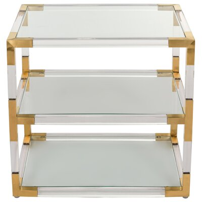 Aresford Acrylic End Table Color: Clear/Brass