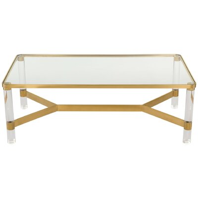 Berkshire Coffee Table Color: Clear/Brass