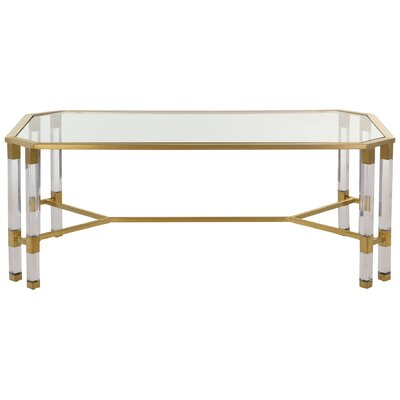 Bethany Coffee Table Color: Clear/Brass