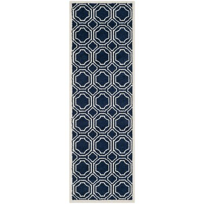 Maritza Navy/Ivory Indoor/Outdoor Area Rug Rug Size: Runner 23 x 9