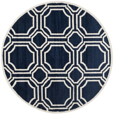 Maritza Navy/Ivory Indoor/Outdoor Area Rug Rug Size: Round 7