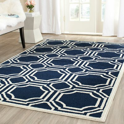 Maritza Navy/Ivory Indoor/Outdoor Area Rug Rug Size: Rectangle 26 x 4