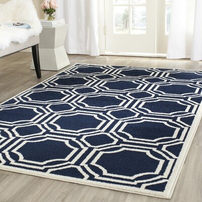 Maritza Navy/Ivory Indoor/Outdoor Area Rug Rug Size: Rectangle 4 x 6