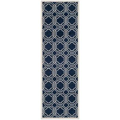 Wallis Navy/Ivory Indoor/Outdoor Area Rug Rug Size: Runner 23 x 9