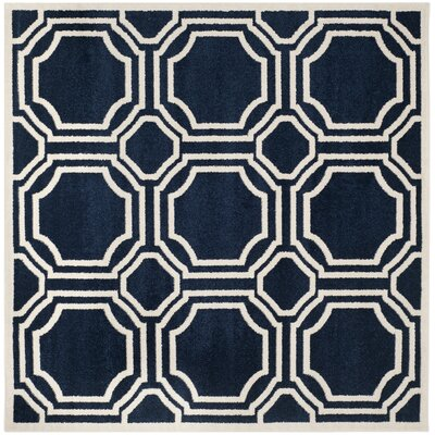 Wallis Navy/Ivory Indoor/Outdoor Area Rug Rug Size: Square 5