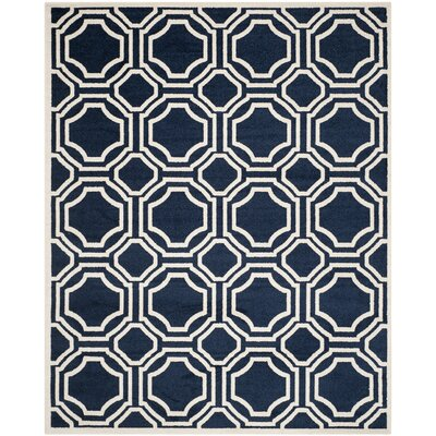 Maritza Navy/Ivory Indoor/Outdoor Area Rug Rug Size: 4 x 6