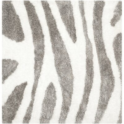 Hempstead Hand Tufted White/Gray Area Rug Rug Size: Square 5