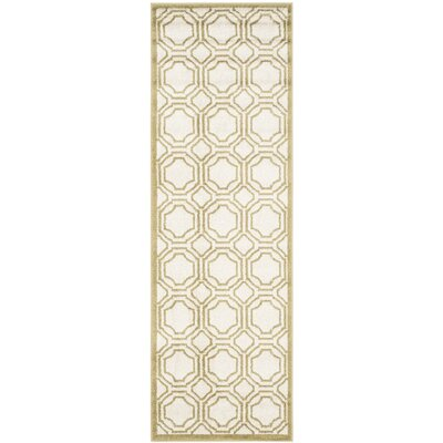 Wallis Ivory/Green Indoor/Outdoor Area Rug Rug Size: Runner 23 x 7