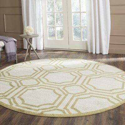 Maritza Ivory/Green Indoor/Outdoor Area Rug Rug Size: Round 7