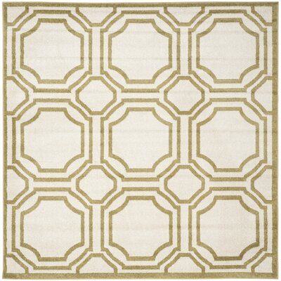 Maritza Ivory/Green Indoor/Outdoor Area Rug Rug Size: Square 7