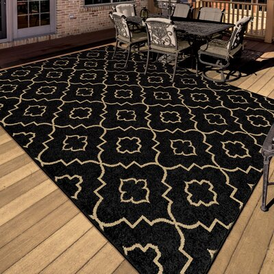 Burford Black/Beige Indoor/Outdoor Area Rug Rug Size: 52 x 76