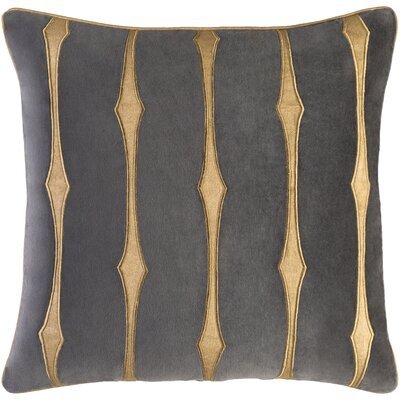Colyn Striped Cotton Velvet Throw Pillow Size: 22 H x 22 W x 4 D, Color: Charcoal/Tan/Wheat