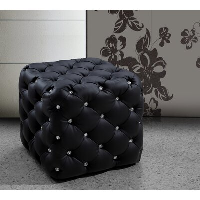 Burton Latimer Leather Ottoman Upholstery: Black